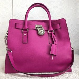 🌸OFFERS?🌸Michael Kors Leather Large Fuchsia Bag